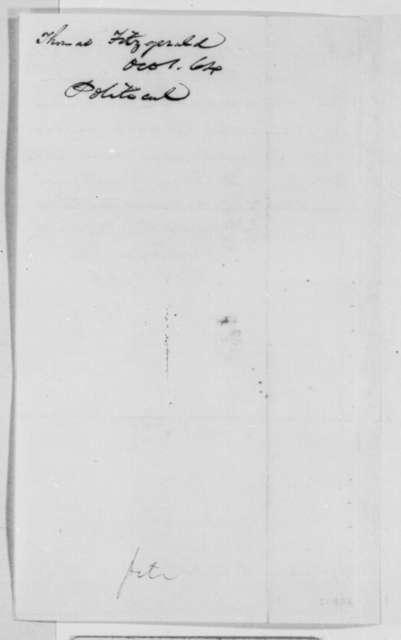Thomas Fitzgerald to Abraham Lincoln, Saturday, October 01, 1864  (Pennsylvania politics)
