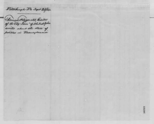 Thomas Fitzgerald to Abraham Lincoln, Wednesday, September 28, 1864  (Pennsylvania politics)