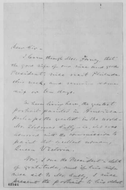 Thomas Fitzgerald to John G. Nicolay, Monday, June 13, 1864  (Wants to commission portrait of Mrs. Lincoln)