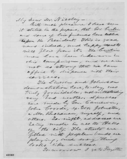 Thomas Fitzgerald to John G. Nicolay, Thursday, September 29, 1864  (Political affairs in Pennsylvania)