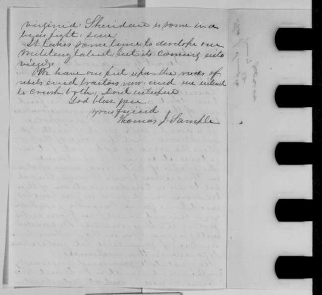 Thomas J. Sample to Abraham Lincoln, Friday, October 21, 1864  (Military commission at Indianapolis)