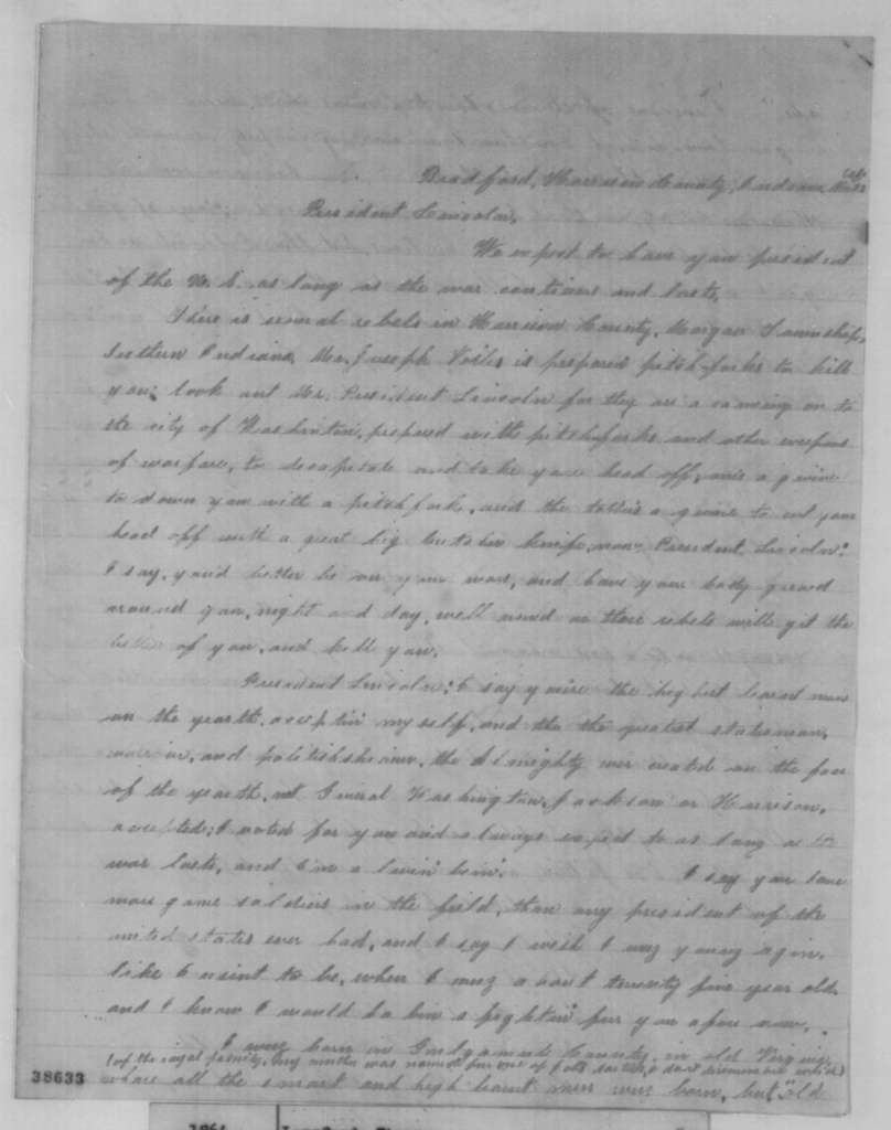Thomas Langford to Abraham Lincoln, Wednesday, November 23, 1864  (Warns Lincoln to guard life against assassination)