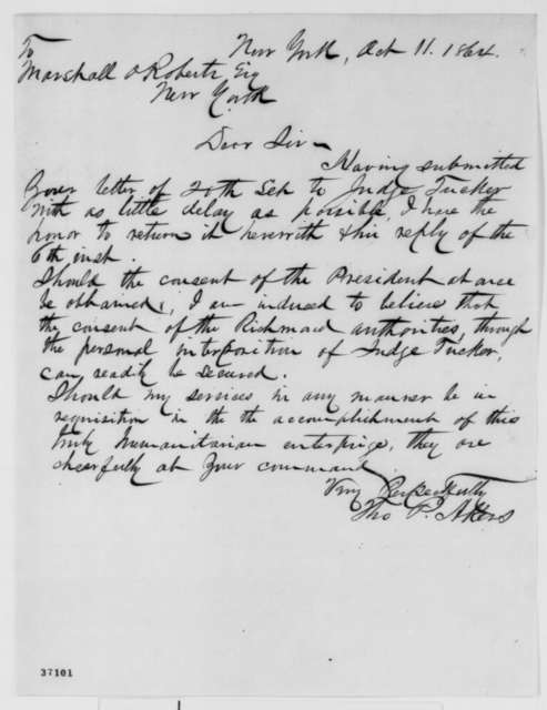 Thomas P. Akers to Marshall O. Roberts, Tuesday, October 11, 1864  (Cover letter)