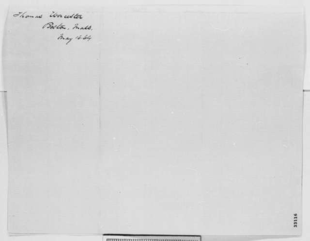 Thomas Worcester to Abraham Lincoln, Monday, May 16, 1864  (Fort Pillow massacre)