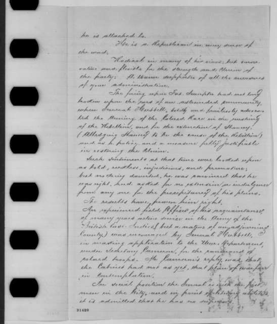 Thomas Y. Midlen to Abraham Lincoln, Wednesday, March 09, 1864  (Recommendation)