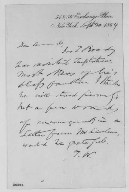 Thurlow Weed to William H. Seward, Tuesday, September 20, 1864  (Requests letter from Lincoln)