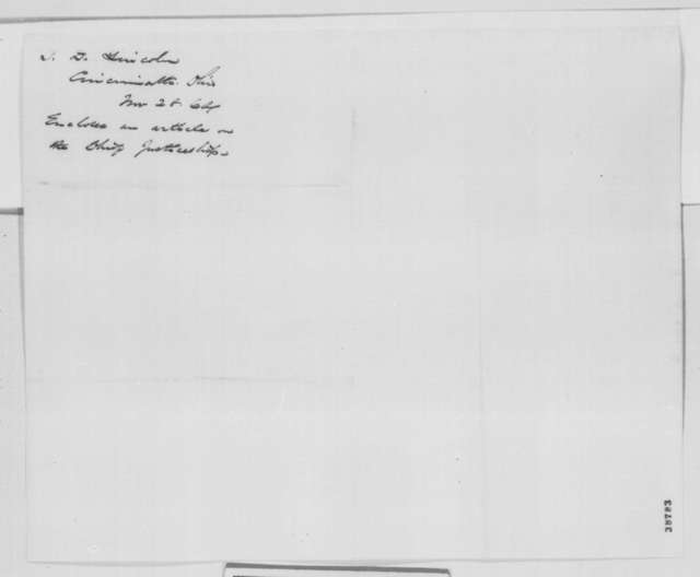Timothy D. Lincoln to Abraham Lincoln, Monday, November 28, 1864  (Cover letter)