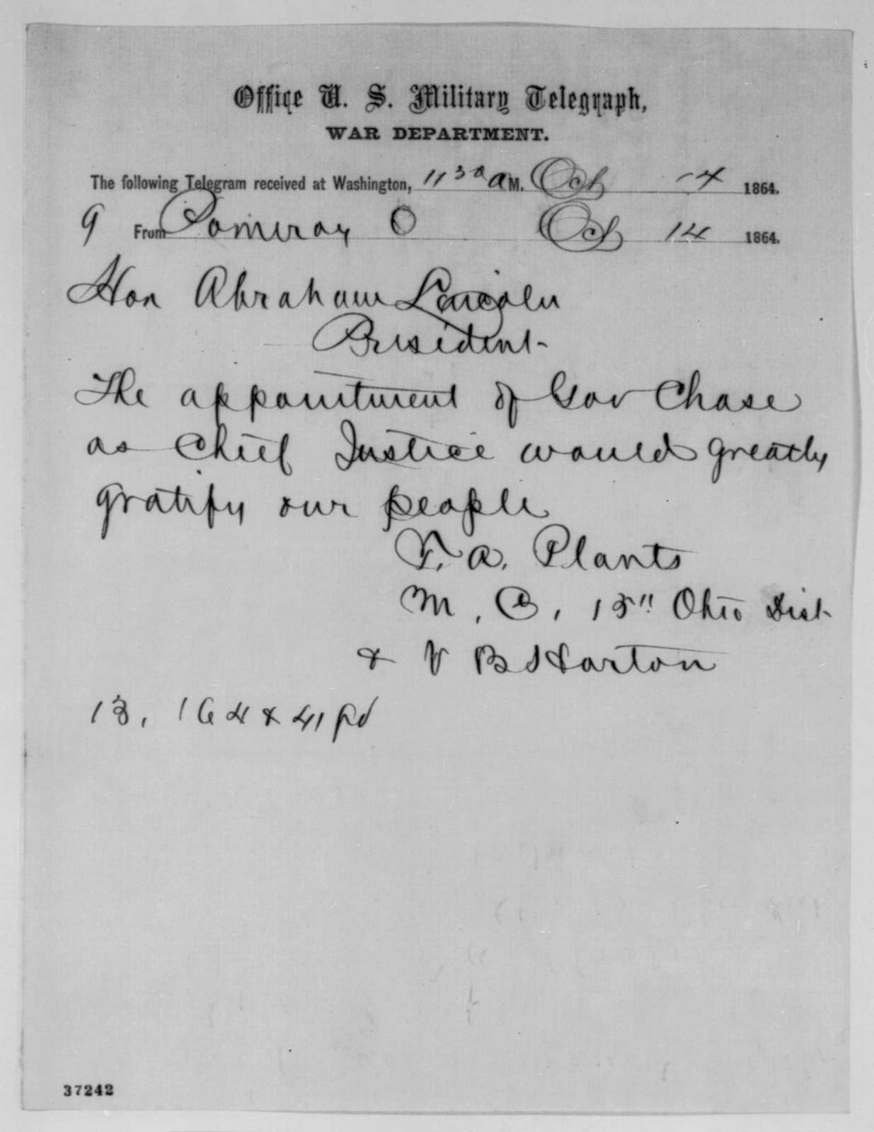 Tobias Avery Plants and V. B. Horton to Abraham Lincoln, Friday, October 14, 1864  (Telegram recommending Chase for Chief Justice)