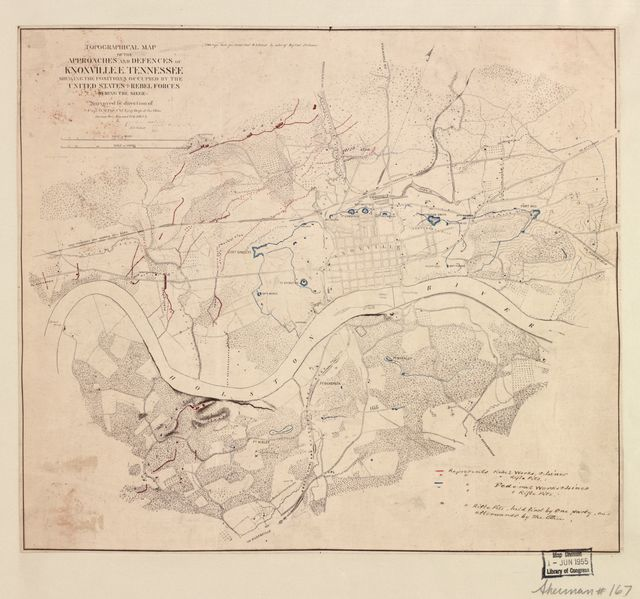 Topographical map of the approaches and defences of Knoxville, E. Tennessee, shewing the positions occupied by the United States & Rebel forces during the siege /