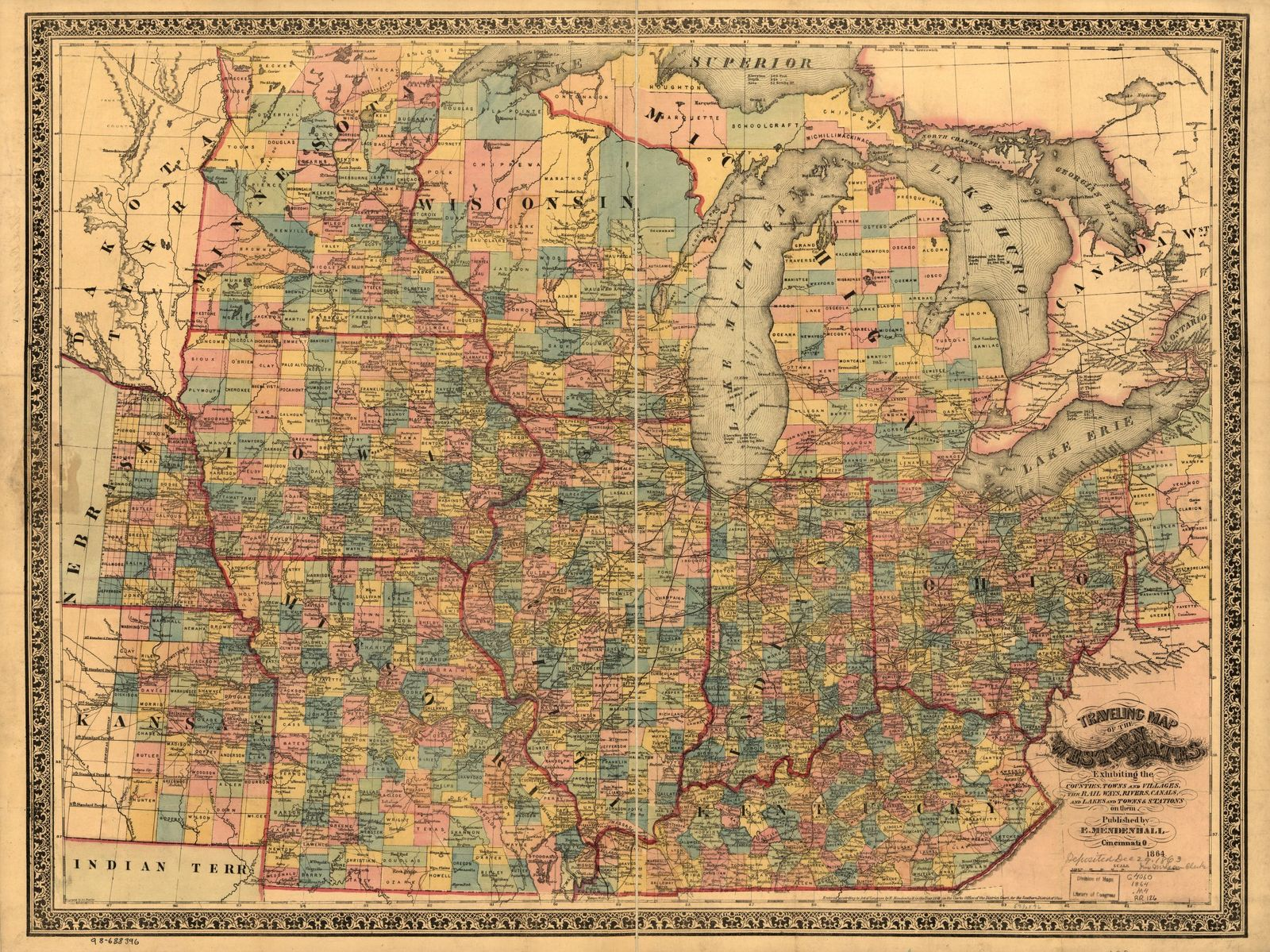 Traveling map of the western states, exhibiting the counties, towns and villages, the rail ways, rivers, canals, and lakes and towns & stations on them; engraved by Jos. Beutler.