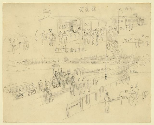 [Two sketches of a depot on the Charleston & Savannah Railroad]