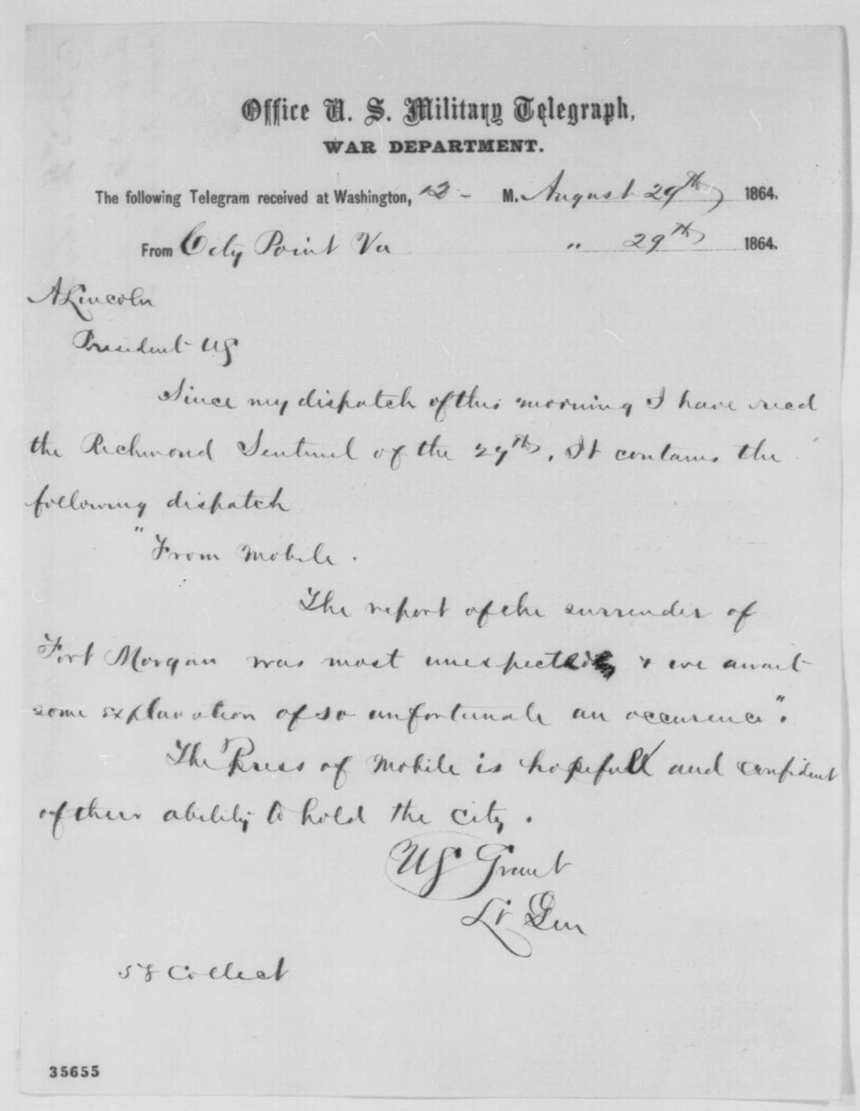 ulysses s grant to abraham lincoln monday august 29 1864