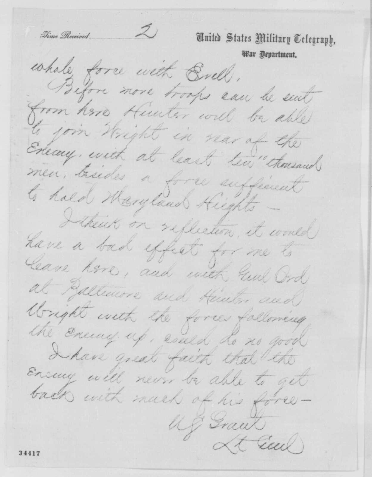 Ulysses S. Grant to Abraham Lincoln, Sunday, July 10, 1864  (Telegram concerning defense of Washington)