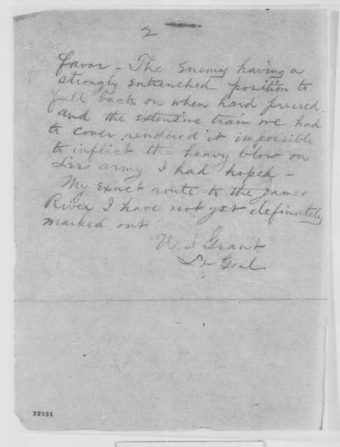 Ulysses S. Grant to Henry W. Halleck, Sunday, May 08, 1864  (Telegram reporting battle at the Wilderness)