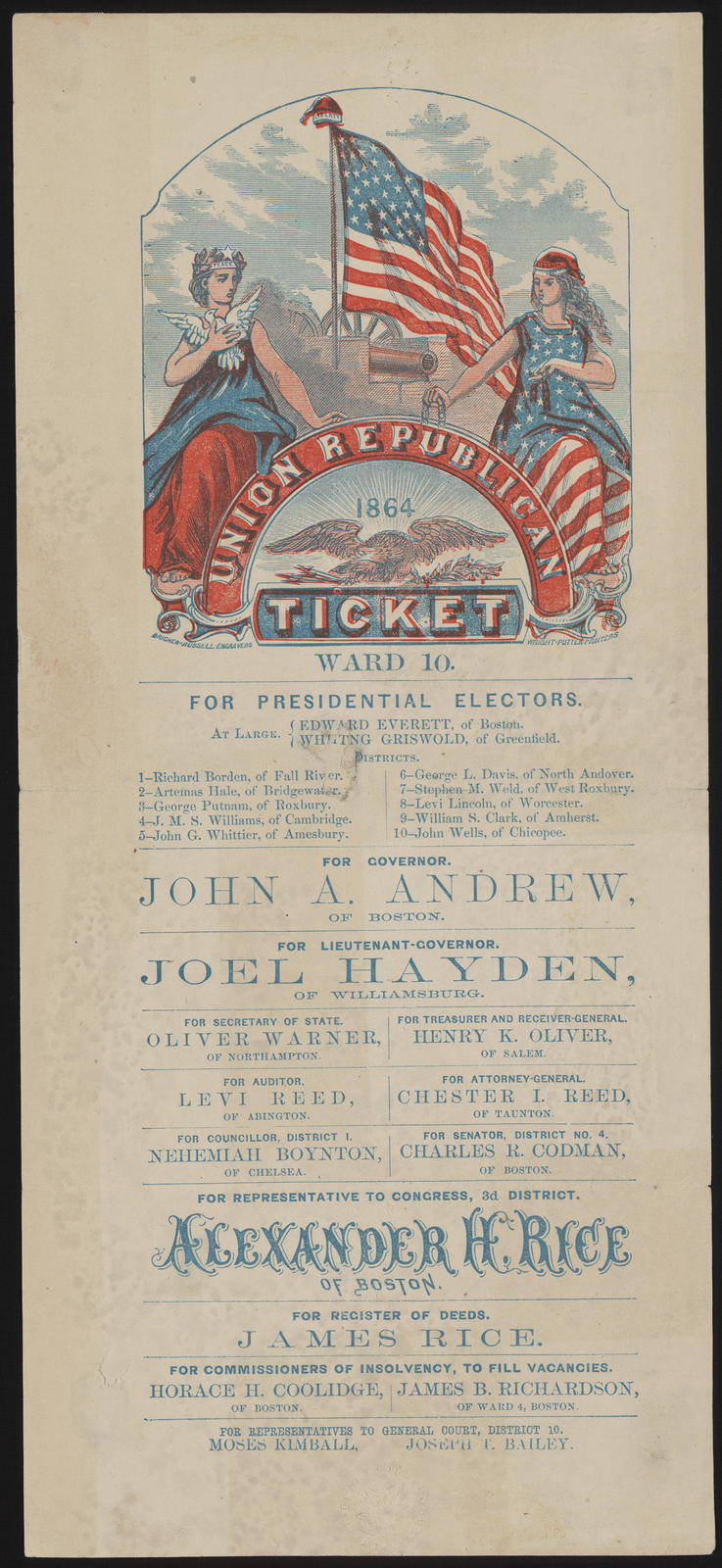 Union republican ticket. Ward 10. [Massachusetts campaign ticket]
