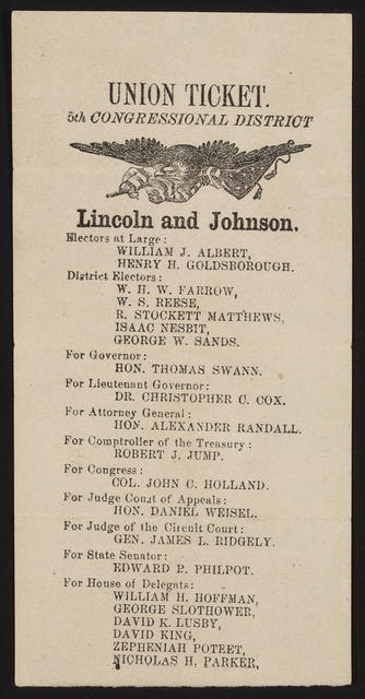 Union ticket. Fifth congressional district. [Maryland campaign ticket]