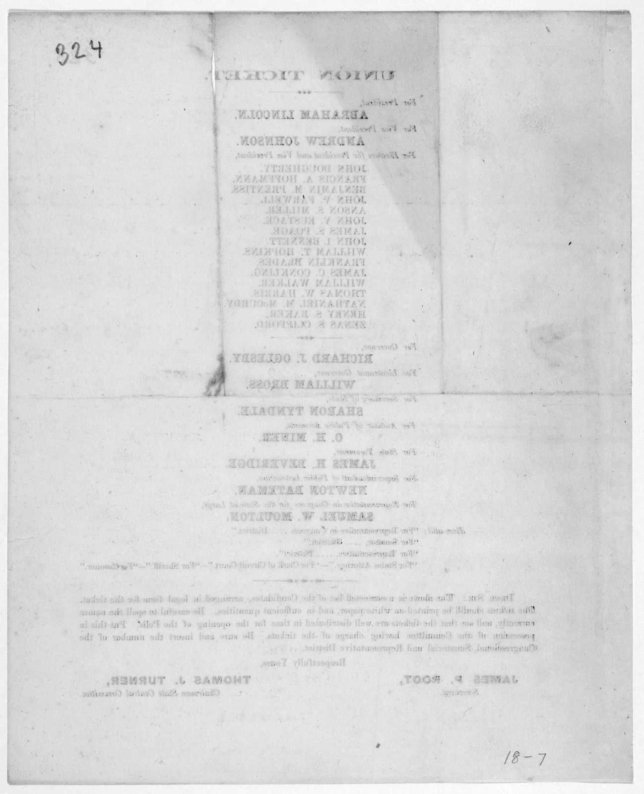 Union ticket  For President Abraham Lincoln  For Vice
