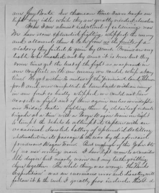 Unknown to John P. Usher, Saturday, April 30, 1864  (Failure of Red River Campaign)