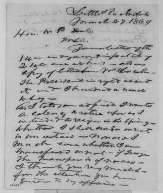 Uri Manly to William P. Dole, Sunday, March 27, 1864  (Seeks transfer; endorsed by Dole)