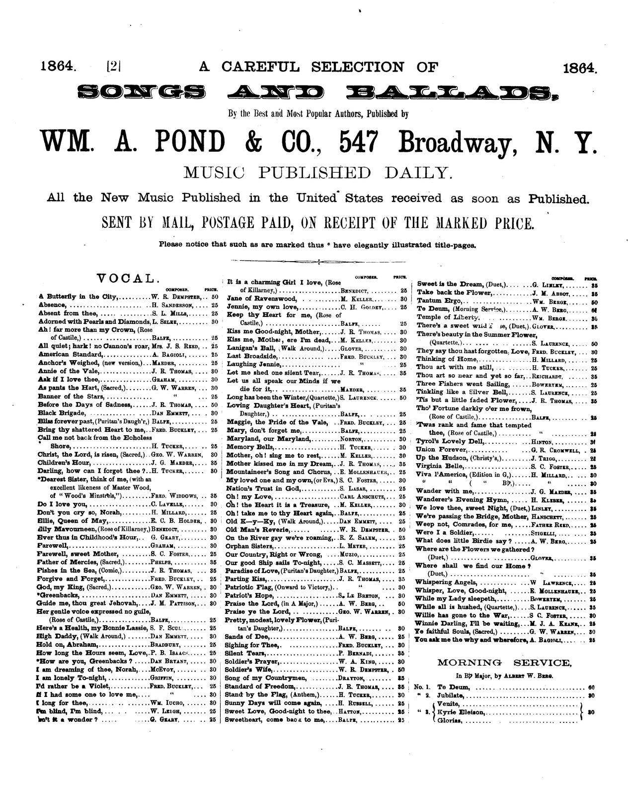 U.S.G.: a song for the times; first produced at Bryant's Minstrels, New York, and sung by the whole nation words and music by Dan D. Emmett, author of Dixie's land, High daddy, etc. etc.