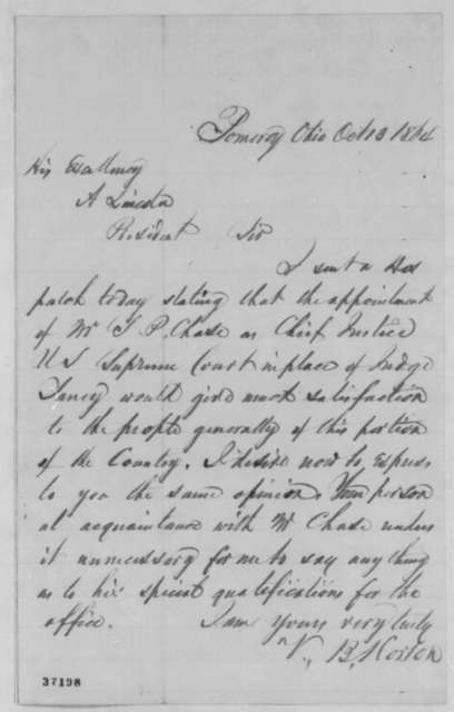 V. B. Horton to Abraham Lincoln, Thursday, October 13, 1864  (Recommends Chase for Chief Justice)