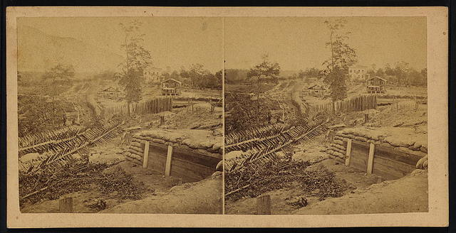 View along the rebel line just east of the Western & Atlantic R.R., Potter's house in the middle ground, Atlanta, Ga., Nov. 1864
