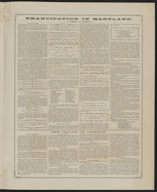View of transparency in front of headquarters of supervisory committee for recruiting colored regiments, Chesnut Street, Philadelphia, in commemoration of emancipation in Maryland, November 1, 1864.