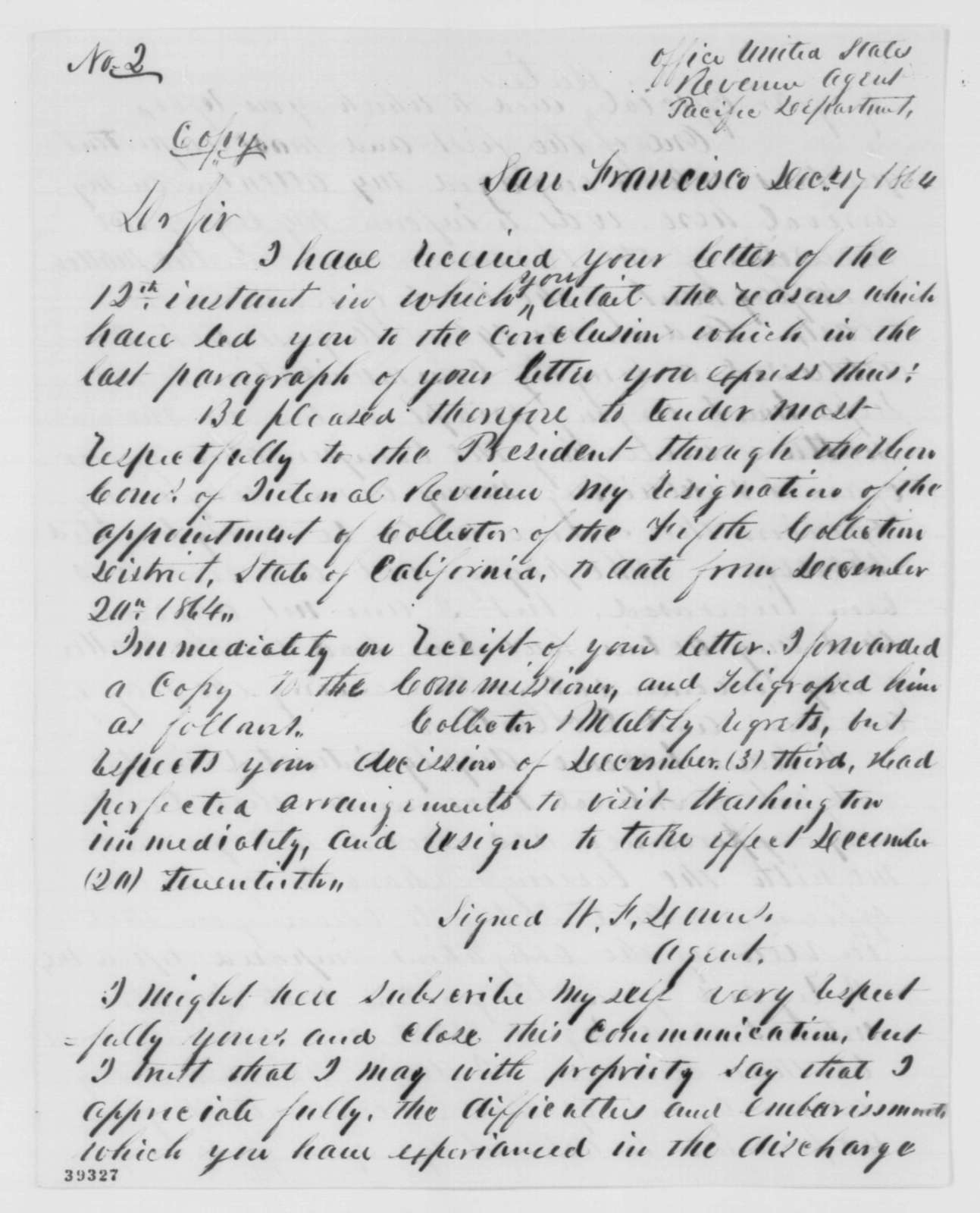 W. F. Downs to Charles Maltby, Saturday, December 17, 1864  (Maltby's resignation)