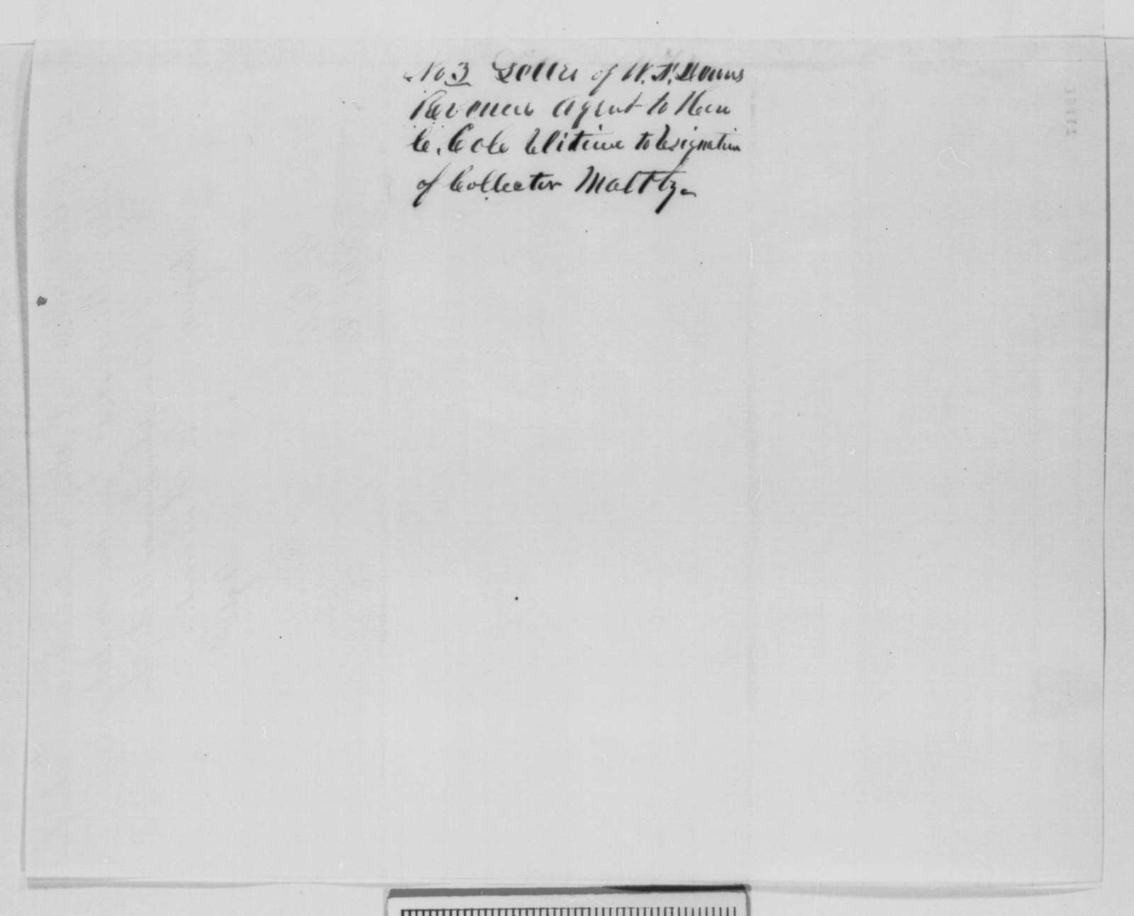 W. F. Downs to Cornelius Cole, Wednesday, December 21, 1864  (Case of Charles Maltby)