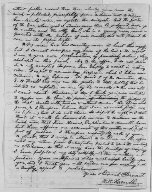 W. W. Handlin to Abraham Lincoln, Thursday, July 21, 1864  (Political affairs in Louisiana)