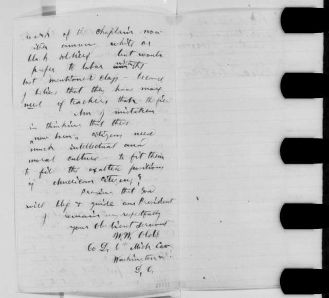 W. W. Olds to Abraham Lincoln, Wednesday, February 03, 1864  (Sends resolutions from Michigan Universalists)