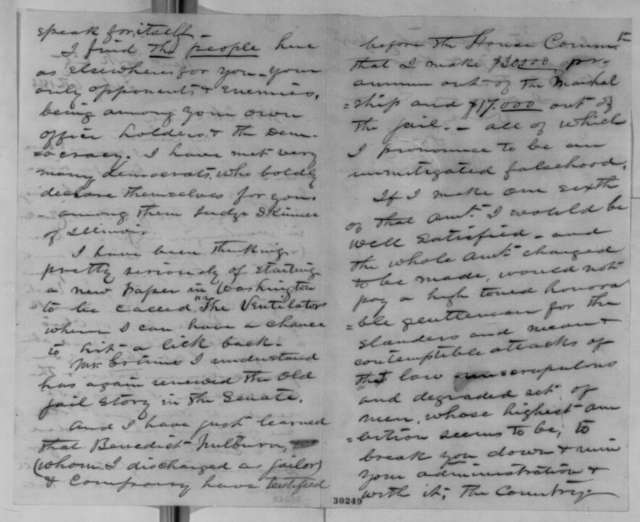 Ward H. Lamon to Abraham Lincoln, Saturday, February 06, 1864  (Political affairs and charges against Lamon)