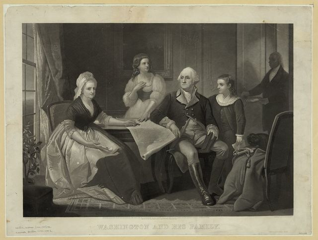 Washington and his family / original painting by C. Schussele, Phila. ; engraved by Wm. Sartain, Phila.