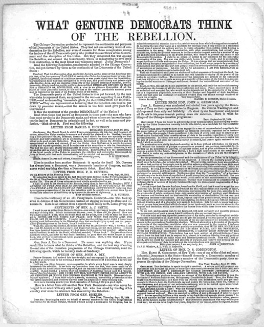 What genuine democrats think of the rebellion. Published by the National union executive committee, Astor House, New York. [1864].