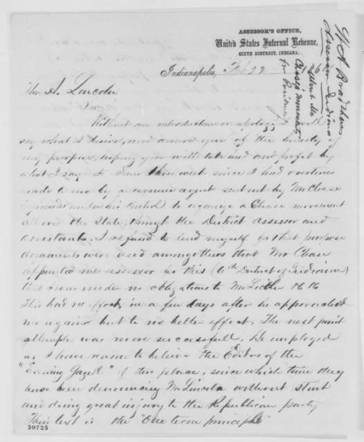 William A. Bradshaw to Abraham Lincoln, Monday, February 22, 1864  (Efforts by Chase to organize support in Indiana)