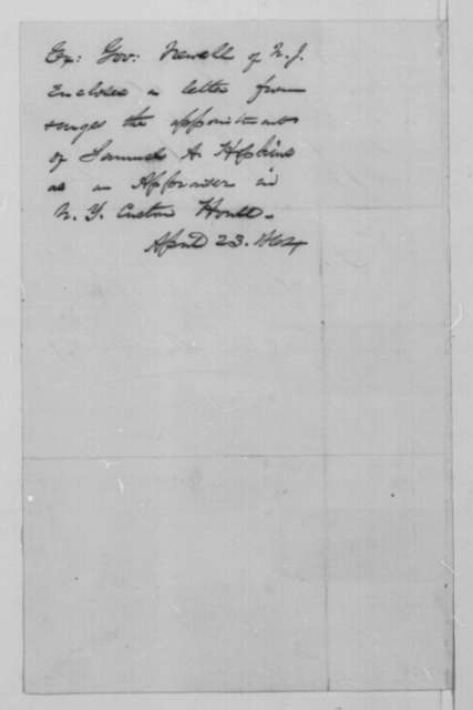 William A. Newell to Abraham Lincoln, Saturday, April 23, 1864  (New Jersey patronage)