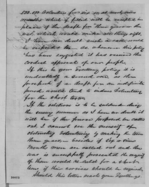 William B. Thomas to Abraham Lincoln, Monday, February 01, 1864  (Questions the wisdom of conscription)