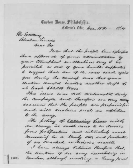 William B. Thomas to Abraham Lincoln, Thursday, December 15, 1864  (Conscription)