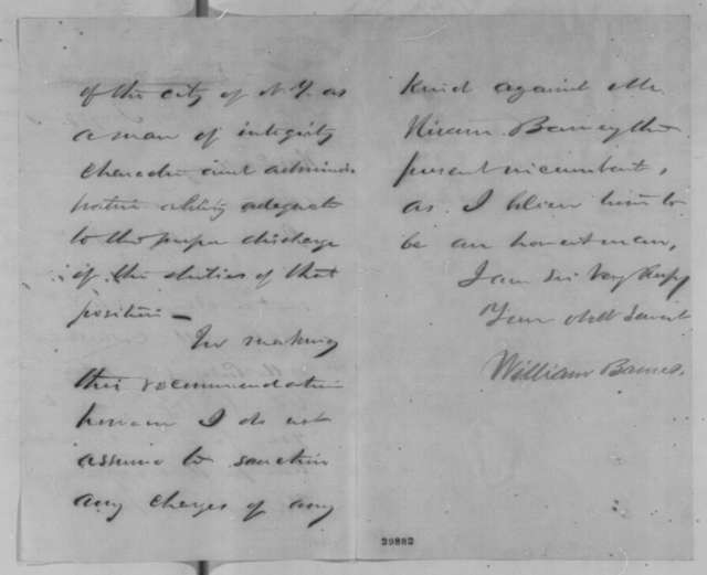 William Barnes to Abraham Lincoln, Wednesday, January 27, 1864  (Recommends Abram Wakeman for collector of customs at New York)