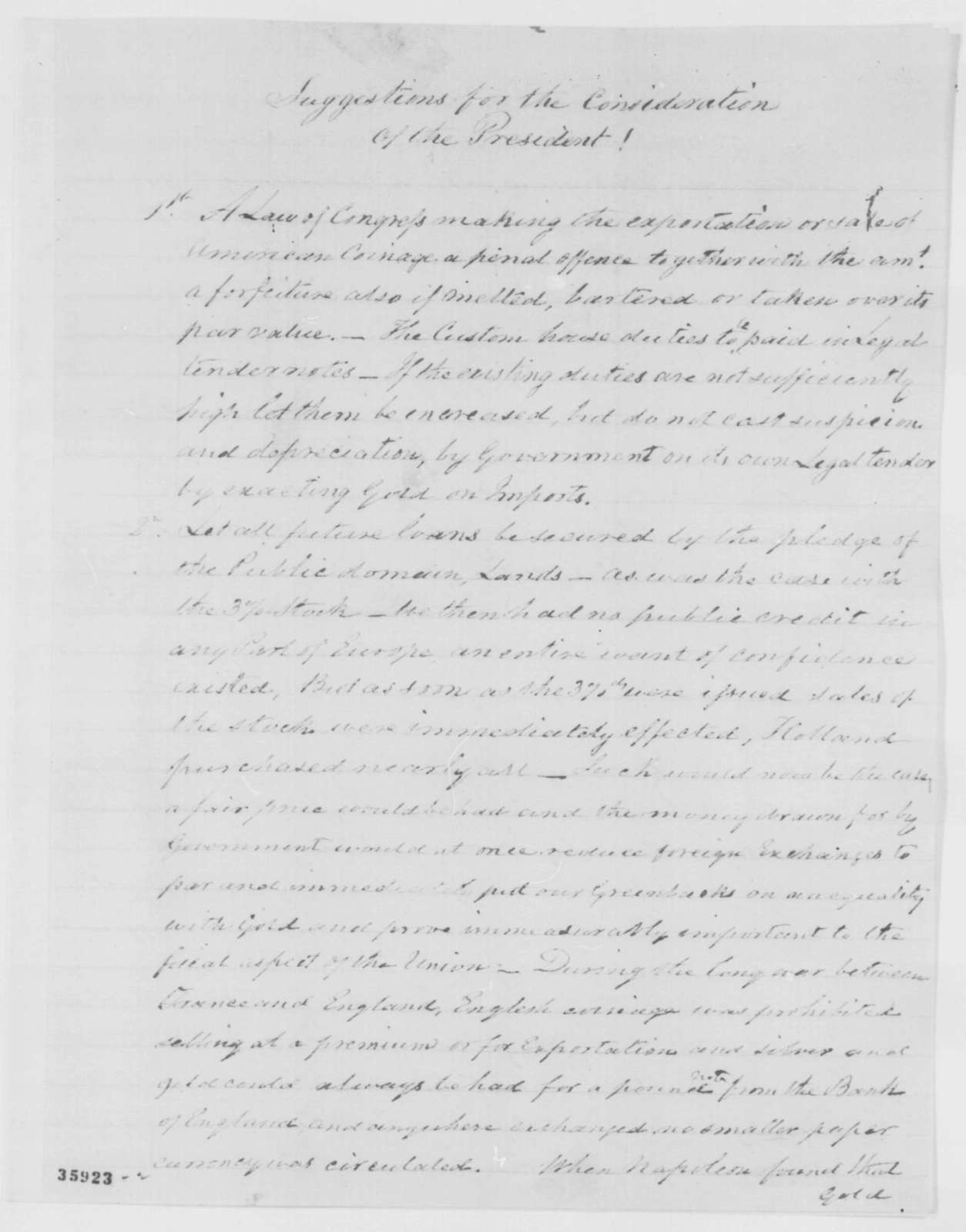 William Bayard to Abraham Lincoln, Monday, September 05, 1864  (Political advice)