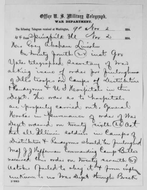 William Butler, Jesse K. Dubois and Ozias M. Hatch to Abraham Lincoln, Wednesday, November 02, 1864  (Telegram concerning Illinois soldier vote)