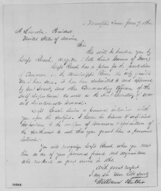 William Butler to Abraham Lincoln, Tuesday, June 07, 1864  (Introduction)