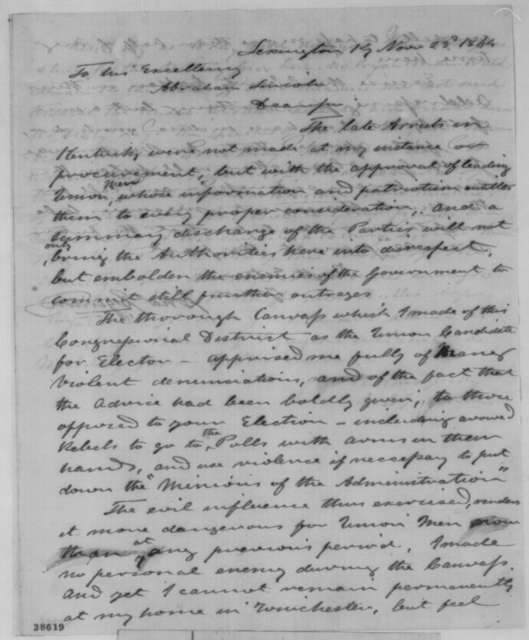 William C. Goodloe and Charles Eginton to Abraham Lincoln, Wednesday, November 23, 1864  (Arrests in Kentucky)