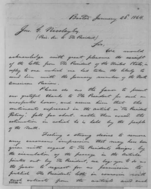 William Crosby and Henry P. Nichols to John G. Nicolay, Friday, January 22, 1864  (Request permission to publish Lincoln's letter of January 16)