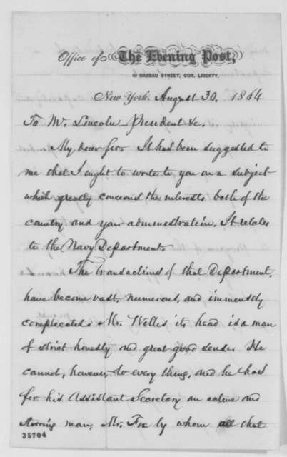 William Cullen Bryant to Abraham Lincoln, Tuesday, August 30, 1864  (Navy Department)