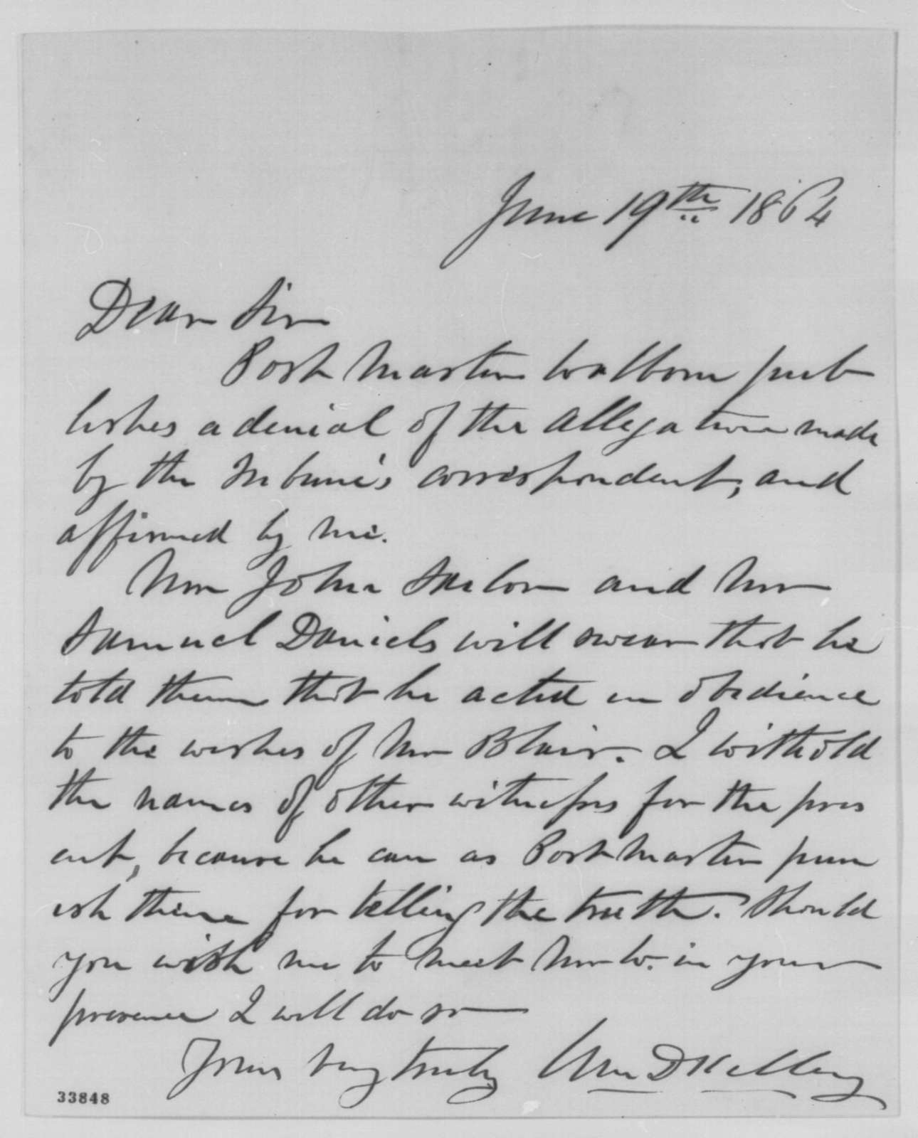 William D. Kelley to Abraham Lincoln, Sunday, June 19, 1864  (Allegations concerning Cornelius A. Walborn)