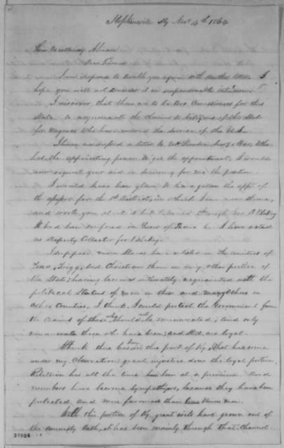 William Davenport to Abraham Lincoln, Friday, November 04, 1864  (Seeks office)