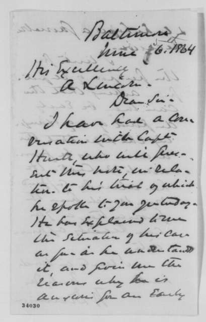 William Dennison to Abraham Lincoln, Sunday, June 26, 1864  (Case of Captain Hurtt)