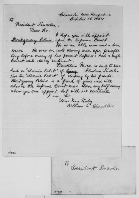 William E. Chandler to Abraham Lincoln, Saturday, October 15, 1864  (Recommends Montgomery Blair for Supreme Court)