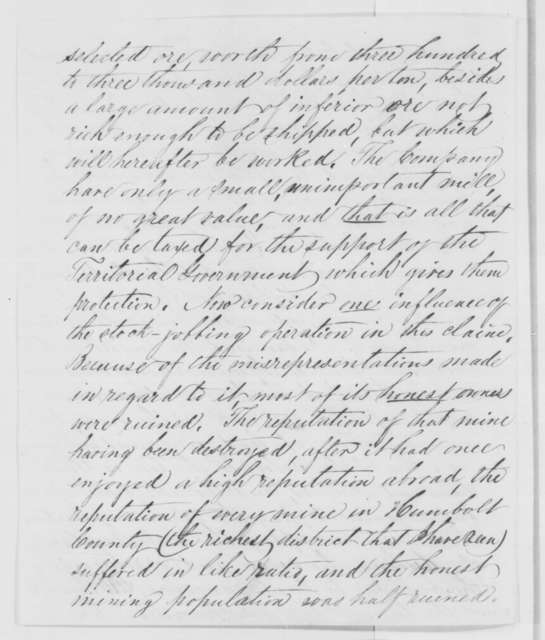William E. Goodridge to Abraham Lincoln, Saturday, January 09, 1864  (Taxation of mines)